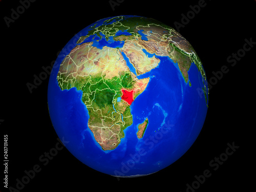 Fotografie, Obraz  Kenya on planet planet Earth with country borders