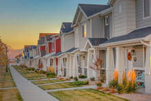 Townhomes In A Row At Sunset In Utah Valley