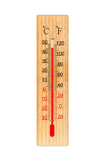 Wooden Thermometer Isolated On...