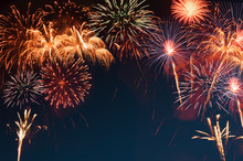 Abstract Colorful Bright Fireworks Background For Celebrate