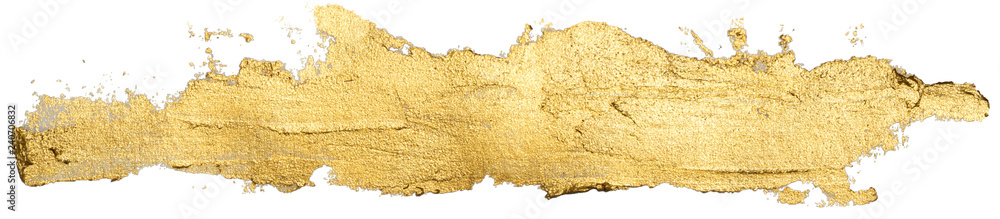 Fototapeta long golden smear oil paint spot isolated on white background