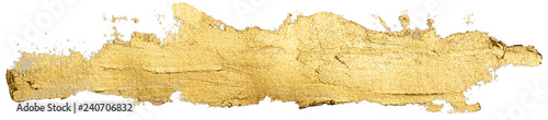 Photo  long golden smear oil paint spot isolated on white background