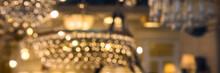 Golden Luxury Blurred Background Of Bokeh Chandeliers