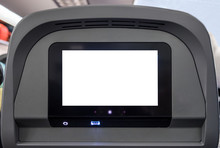 White Display Entertain Screen With Button And Channel On Rear Seat In Plane