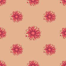 Seamless Pattern With Orange Daisy Flowers On Creamy Background