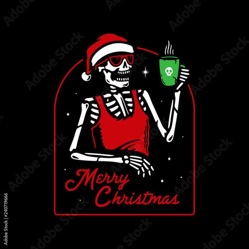 Christmas Skeleton.Merry Christmas Skeleton In Santa Hat Drinks Mulled Wine