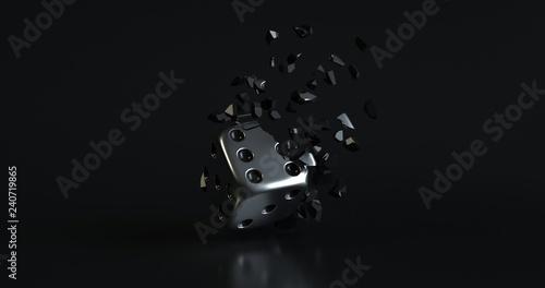Valokuva  Scattered Black Dice Isolated On The Black Background - 3D Illustration