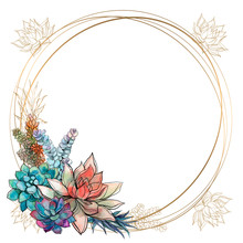 The Frame Is Round. Roses. Gold  Vector Illustration
