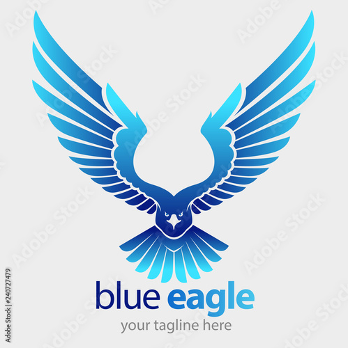 Photo  vector illustration, a blue eagle flies its wings for a company logo or business