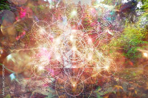 Obraz Abstract spiritual background with sacred geometry. - fototapety do salonu
