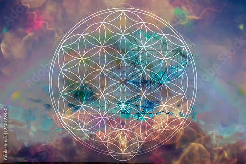 Abstract spiritual background with sacred geometry Wallpaper Mural