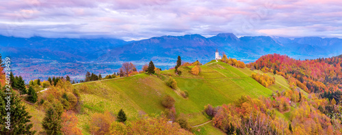Printed kitchen splashbacks Purple Wide panorama with church top hill, Slovenia