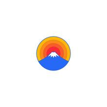 Fujiyama Japan Mountain Sunrise Badge Logo Template