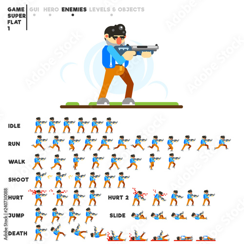 Photo  Animation of a man with a shotgun for creating a video game