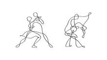 Tańcząca Para Szkic Wektor