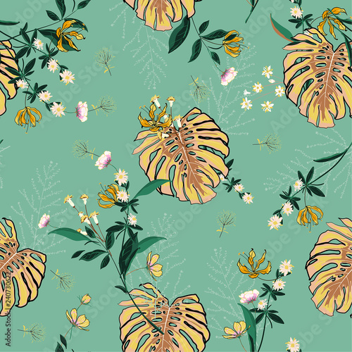 Tuinposter Vlinders Bright tropical Floral pattern in the many kind of flowers. Seamless vector texture. for fashion prints.