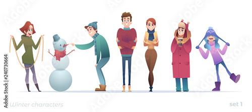 Fotomural Winter flat cartoon characters set