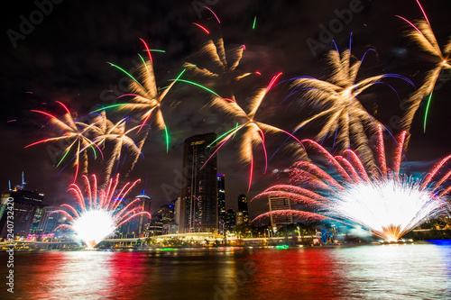 Christmas fireworks in Brisbane, Australia - from South Bank, December 2018