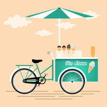 Ice Cream Bicycle Cart Vintage Design
