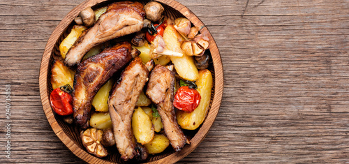 Pan-fried pork ribs and potatoes.American food.Bbq meat,