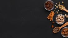 Cinnamon Sticks, Anise Stars, Cloves And Nutmeg