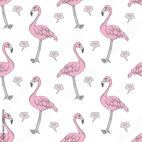 Canvas Prints Flamingo Computer graphic seamless pattern illustration with pink exotic flamingo birds and hearts on white background