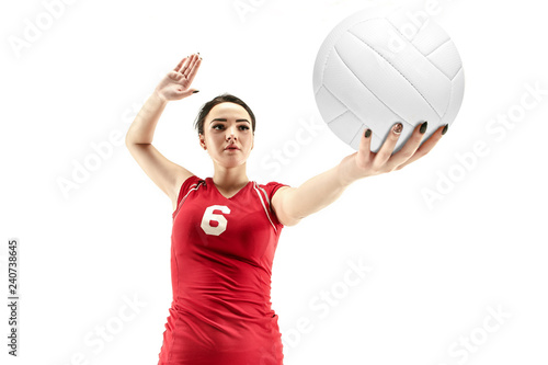 Obraz na plátne Female professional volleyball player isolated on white with ball