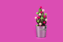 Cactus Tree Tropical Christmas Background New Year Flower Pot Balls Green Red Holiday Gift Party Funny Valentine Day Pail Pink Purple