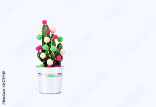 Papiers peints Cactus cactus tree tropical christmas background new year flower pot balls green red holiday gift party funny Valentine day pail white