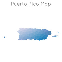 Low Poly Map Of Puerto Rico. P...