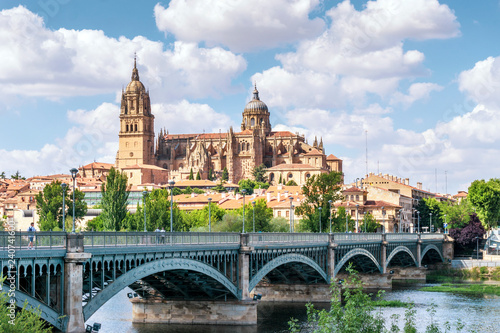 Salamanca with bridge over Tormes river and cathedral, Spain