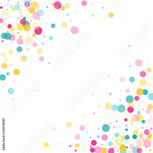 Memphis round confetti festive background in cyan blue, pink and yellow Wallpaper Mural