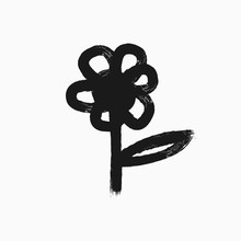Flower With Leaf Drawn By Hand...