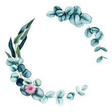 Wreath With Watercolor Pink Flowers And Eucalyptus Leaves