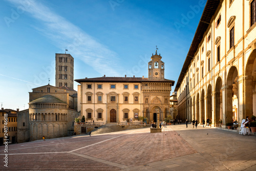 Arezzo: Piazza Grande the main square of  Arezzo city, Tuscany, Italy Canvas Print