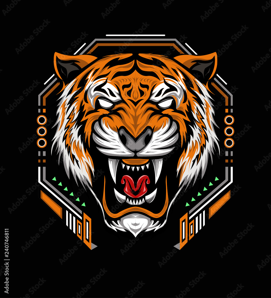 VECTOR TIGER with roaring. The Tiger head illustration with angry face on the black background
