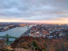 View Of Budapest From Gellert Hill With Liberty Bridge And Petofi Bridge Visible Over The Danuble