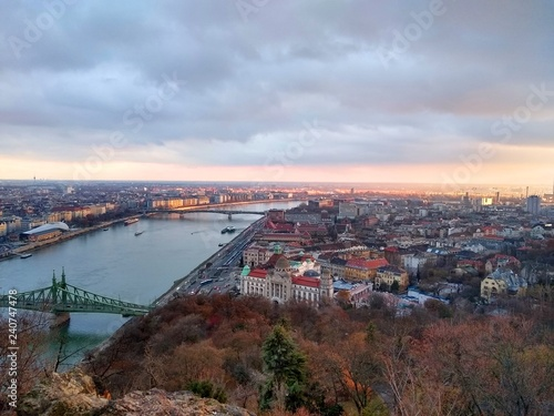 View of Budapest from Gellert hill with Liberty bridge and Petofi bridge visible Wallpaper Mural