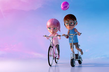 Little Friends Playing And Having Fun Together. Cute Cheerful Smiling Cartoon Girl Riding On The Bicycle And Boy Riding On Scooter. Happy Childhood And Friendship Concept. 3D Render