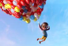 Happy Kid Boy Having Fun Flyin...
