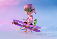Cute Cartoon Girl Swinging On A Spring Airplane Seesaw In Children Playground. Funny Cartoon Character Of A Little Pretty Kid With Aviator Glasses And Pink Anime Hairs. 3D Illustration.
