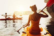 Lady Friends Walk Kayak Kayaking Sea Sunset