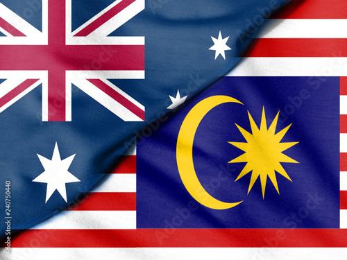 Fotografía  Flag of Malaysia. Flag of Australia.