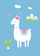 Cute Llama or Alpaca with Cactus, Flowers and Mountains Vector Illustration