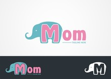 Elephant With Letter M Logo