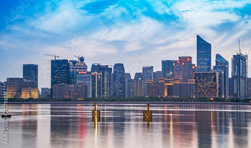 Foto op Aluminium Buffel Night Scenery of Modern Urban Architectural Landscape in Hangzhou..
