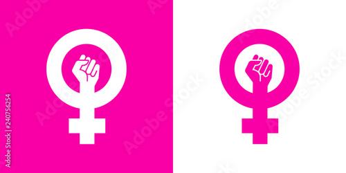 Fotografía  Icono plano símbolo feminista con puño en rosa y blanco