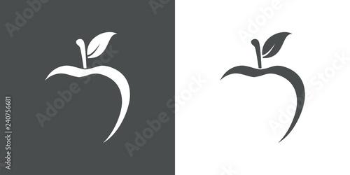 Icono plano abstracto con manzana con espacio negativo en gris y blanco - 240756681