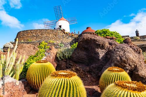 Keuken foto achterwand Cactus Beatiful View of cactus garden, Jardin de Cactus in Guatiza, Lanzarote, Canary Islands, Spain
