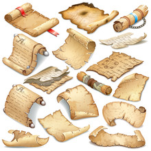 Set Royal Old Parchments And Scrolls Decorated Ribbon, Silver Elements  And Leather Beltn. Ancient Paper For Message. Isolated Isometric 3d Vector Illustration For Computer Games And Books Design.